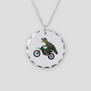 Dirt Bike Wheelie T Rex Necklace Circle Charm