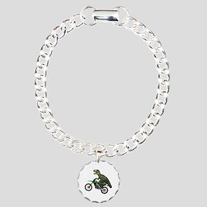 Dirt Bike Wheelie T Rex Charm Bracelet, One Charm