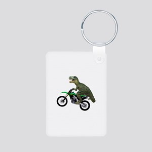 Dirt Bike Wheelie T Rex Aluminum Photo Keychain