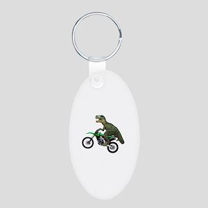 Dirt Bike Wheelie T Rex Aluminum Oval Keychain