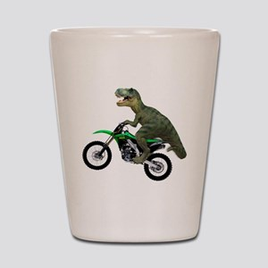 Dirt Bike Wheelie T Rex Shot Glass