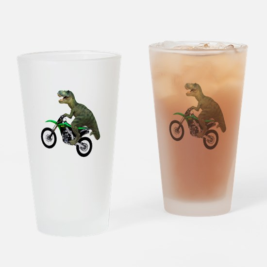 Dirt Bike Wheelie T Rex Drinking Glass