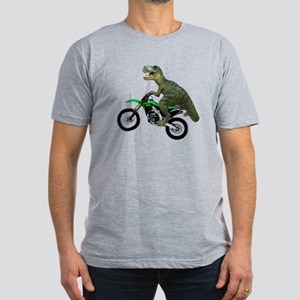 Dirt Bike Wheelie T Rex Men's Fitted T-Shirt (dark