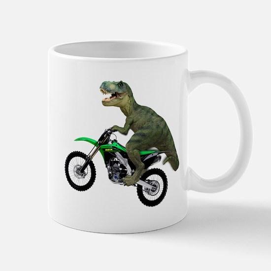 Dirt Bike Wheelie T Rex Mug