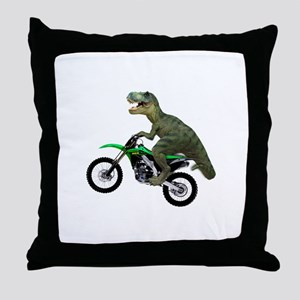 Dirt Bike Wheelie T Rex Throw Pillow