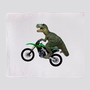 Dirt Bike Wheelie T Rex Throw Blanket