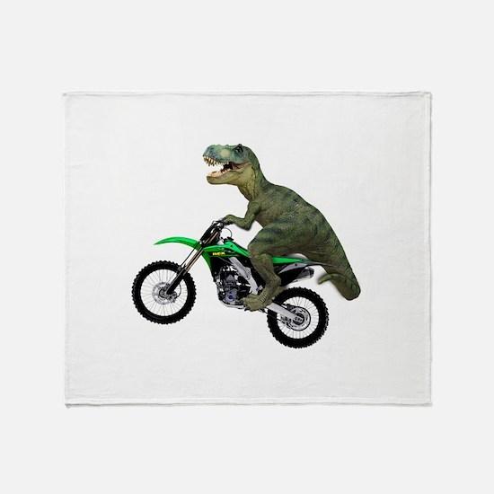 Dirt Bike Wheelie T Rex Throw Blanket
