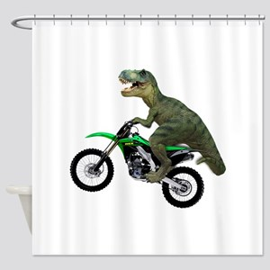 Dirt Bike Wheelie T Rex Shower Curtain
