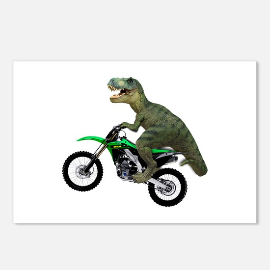 Dirt Bike Wheelie T Rex Postcards (Package of 8)