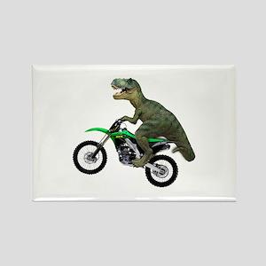 Dirt Bike Wheelie T Rex Rectangle Magnet