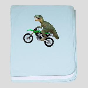 Dirt Bike Wheelie T Rex baby blanket