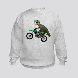 Dirt Bike Wheelie T Rex Kids Sweatshirt