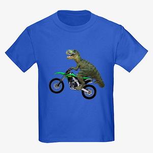 Dirt Bike Wheelie T Rex Kids Dark T-Shirt