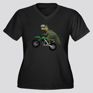 Dirt Bike Wheelie T Rex Women's Plus Size V-Neck D