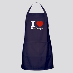 I Love Donkeys Apron (dark)
