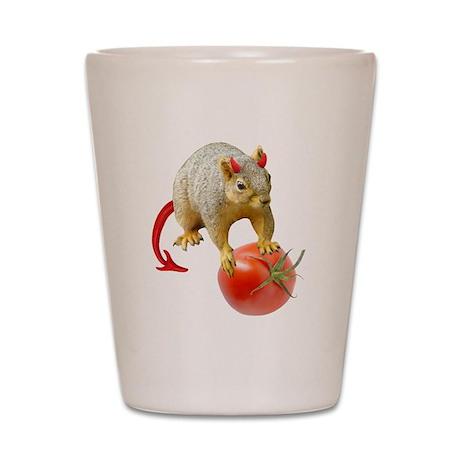 Devil Squirrel Stealing Tomato Shot Glass