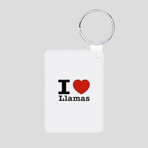 I Love Liamas Aluminum Photo Keychain
