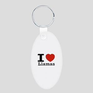 I Love Liamas Aluminum Oval Keychain