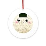 Cute Kawaii Rice Ball Ornament (Round)