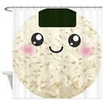 Cute Kawaii Rice Ball Shower Curtain