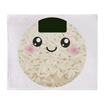 Cute Kawaii Rice Ball Throw Blanket
