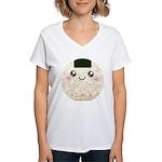 Cute Kawaii Rice Ball Women's V-Neck T-Shirt