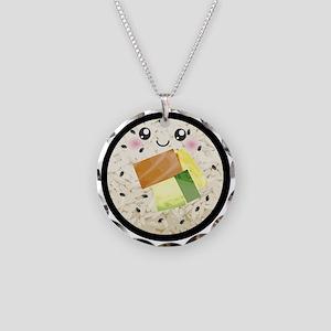 Cute Kawaii Sushi Roll Necklace Circle Charm