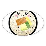 Cute Kawaii Sushi Roll Sticker (Oval 50 pk)