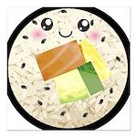 Cute Kawaii Sushi Roll Square Car Magnet 3