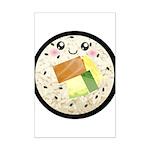 Cute Kawaii Sushi Roll Mini Poster Print