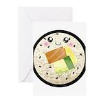 Cute Kawaii Sushi Roll Greeting Cards (Pk of 20)