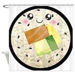 Cute Kawaii Sushi Roll Shower Curtain