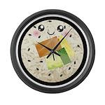Cute Kawaii Sushi Roll Large Wall Clock