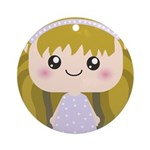 Kawaii cartoon Girl Ornament (Round)