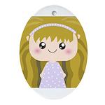Kawaii cartoon Girl Ornament (Oval)