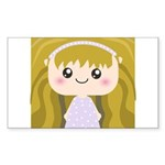 Kawaii cartoon Girl Sticker (Rectangle 50 pk)