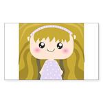 Kawaii cartoon Girl Sticker (Rectangle 10 pk)