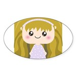 Kawaii cartoon Girl Sticker (Oval 50 pk)