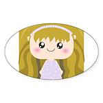 Kawaii cartoon Girl Sticker (Oval)
