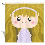 Kawaii cartoon Girl Shower Curtain