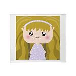Kawaii cartoon Girl Throw Blanket