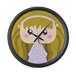Kawaii cartoon Girl Large Wall Clock