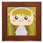 Kawaii cartoon Girl Framed Tile