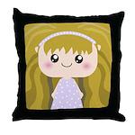 Kawaii cartoon Girl Throw Pillow