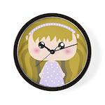Kawaii cartoon Girl Wall Clock