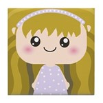 Kawaii cartoon Girl Tile Coaster