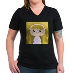 Kawaii cartoon Girl Women's V-Neck Dark T-Shirt