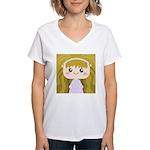 Kawaii cartoon Girl Women's V-Neck T-Shirt