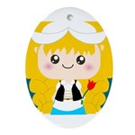 Cute Cartoon Girl from Holland Ornament (Oval)