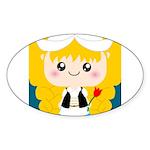 Cute Cartoon Girl from Holland Sticker (Oval)